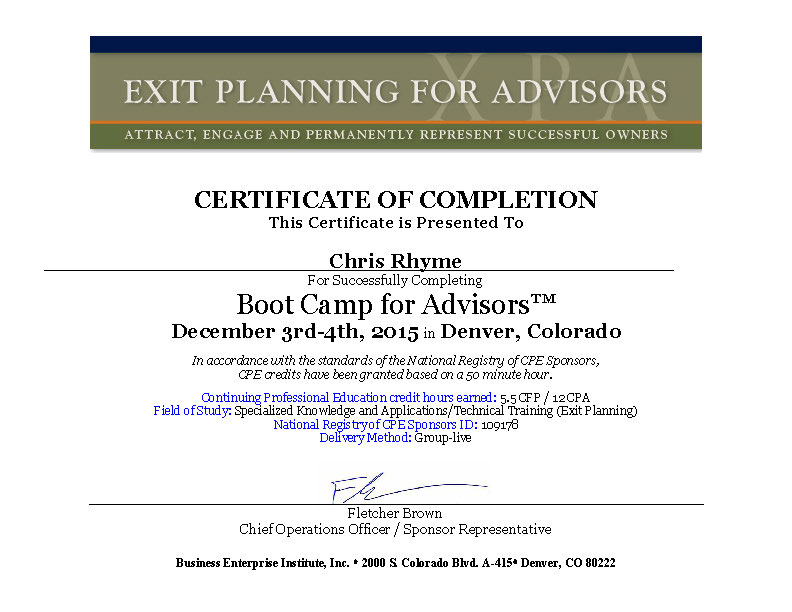 Chris Rhyme Completed BEI's Bootcamp for Advisors